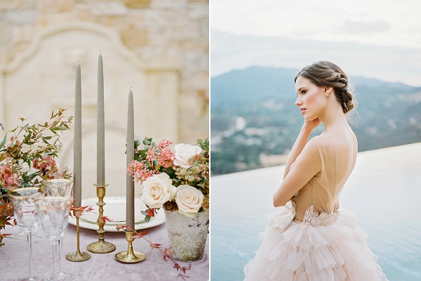 Gilded Candle Holders | Romantic Bridal Ballerina Inspiration In Malibu by Babsie Ly Photography