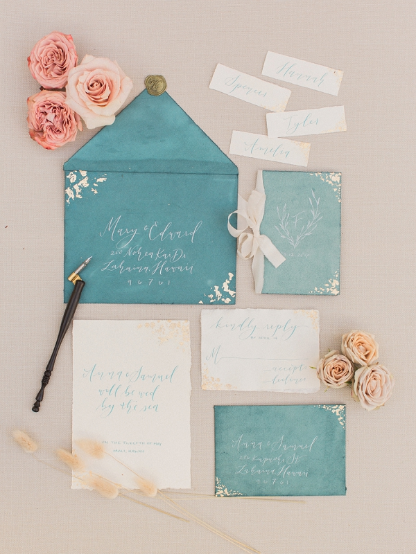Calligraphy Wedding Stationery | Cliffside Hawaii Wedding Inspiration By Koman Photography