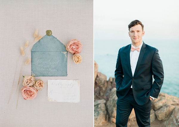 Groom In Modern Classic Suit | Cliffside Hawaii Wedding Inspiration By Koman Photography
