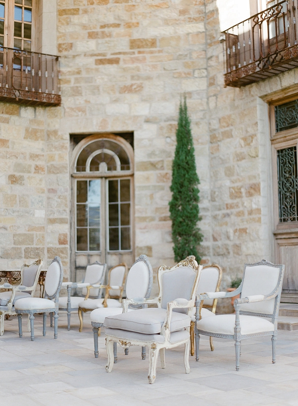 Ceremony Seating with Vintage French Chairs   European Inspired Wedding Ideas With Old World Elegance by Jeanni Dunagan Photography