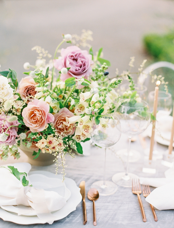 Floral Centerpiece   French Provence Wedding Inspiration by Savan Photography