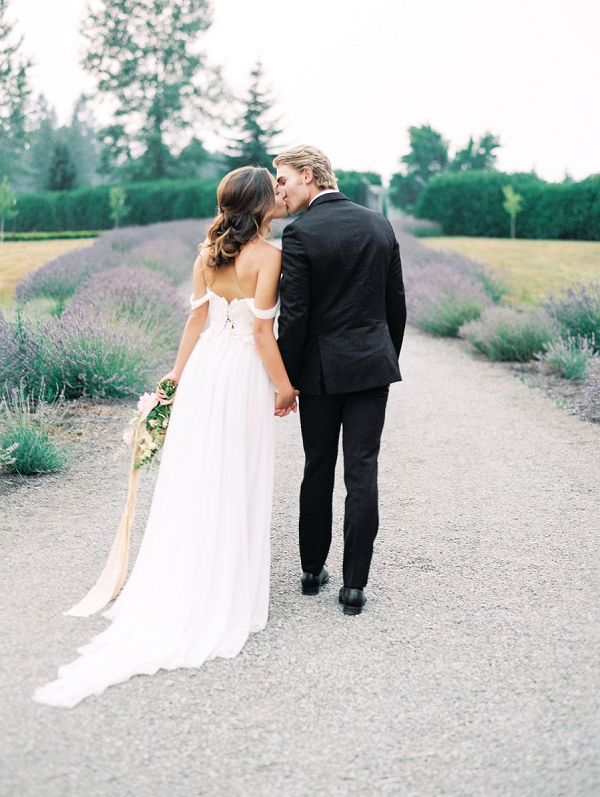 Bride and Groom Kissing   French Provence Wedding Inspiration by Savan Photography
