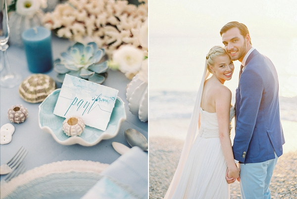 Calligraphy Place Card | Seaside Elopement Inspiration by Darya Kamalova of Thecablookfotolab