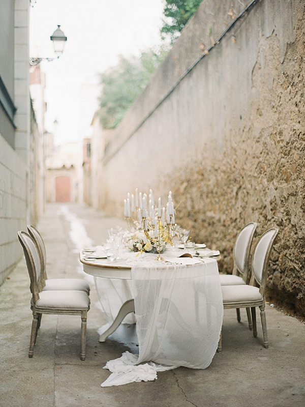 Romantic Tablescape with Candles | Lost In Spain Wedding Editorial with Elisabeth Van Lent Photography