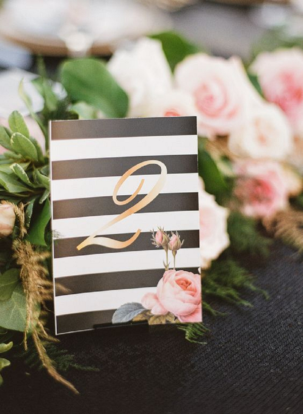 Table Number | Summer Wedding and Engagement Ideas with Stripes
