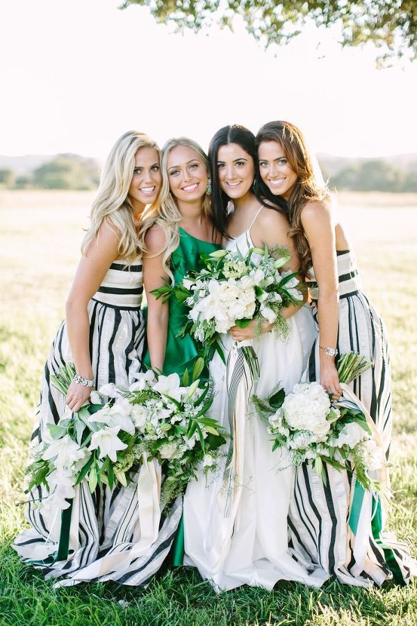 Bride and Bridesmaids | Summer Wedding and Engagement Ideas with Stripes