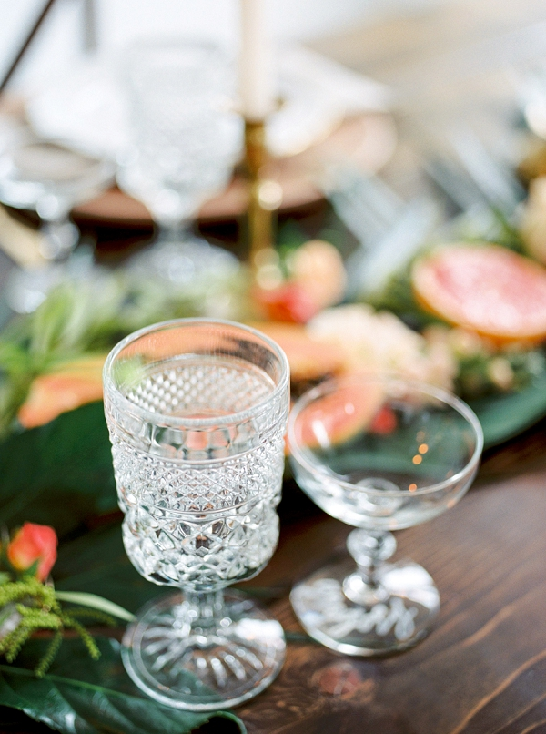 Wedding Glassware | Indoor Tropical Wedding Inspiration by Kerry Jeanne Photography