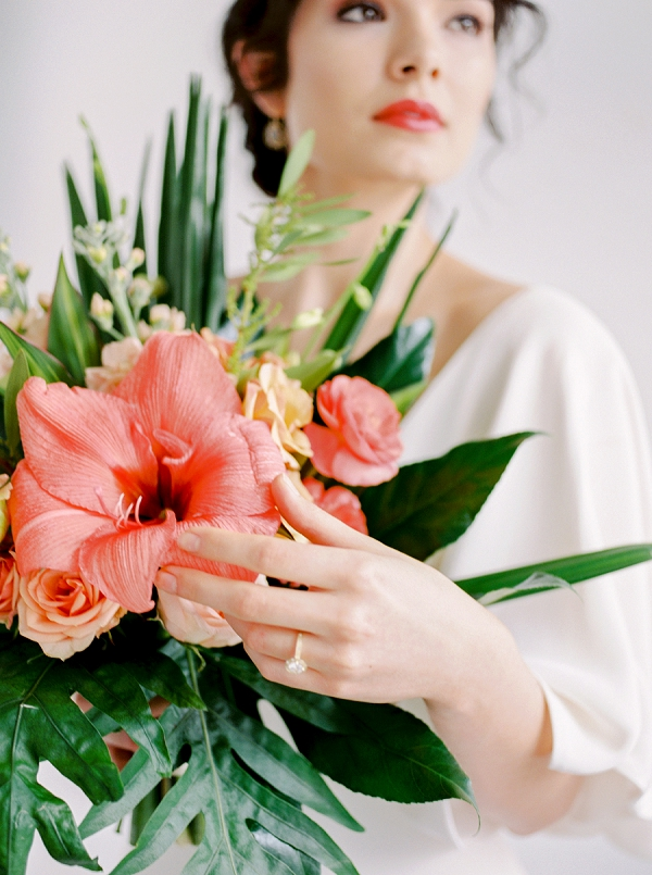 Bouquet with Tropical Flowers | Indoor Tropical Wedding Inspiration by Kerry Jeanne Photography