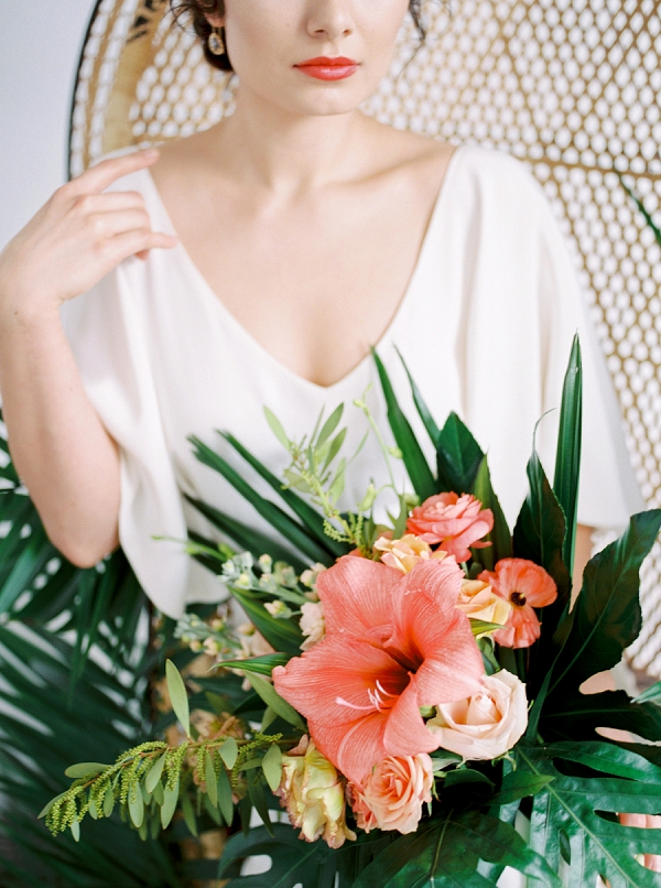 Tropical Coral Bouquet | Indoor Tropical Wedding Inspiration by Kerry Jeanne Photography