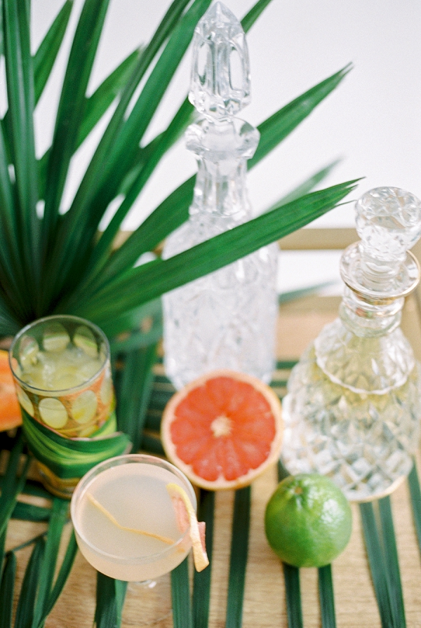 Tropical Wedding Drinks | Indoor Tropical Wedding Inspiration by Kerry Jeanne Photography