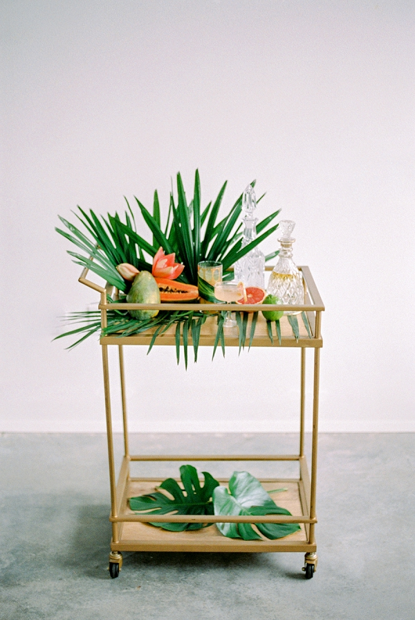 Tropical Wedding Drinks Station | Indoor Tropical Wedding Inspiration by Kerry Jeanne Photography