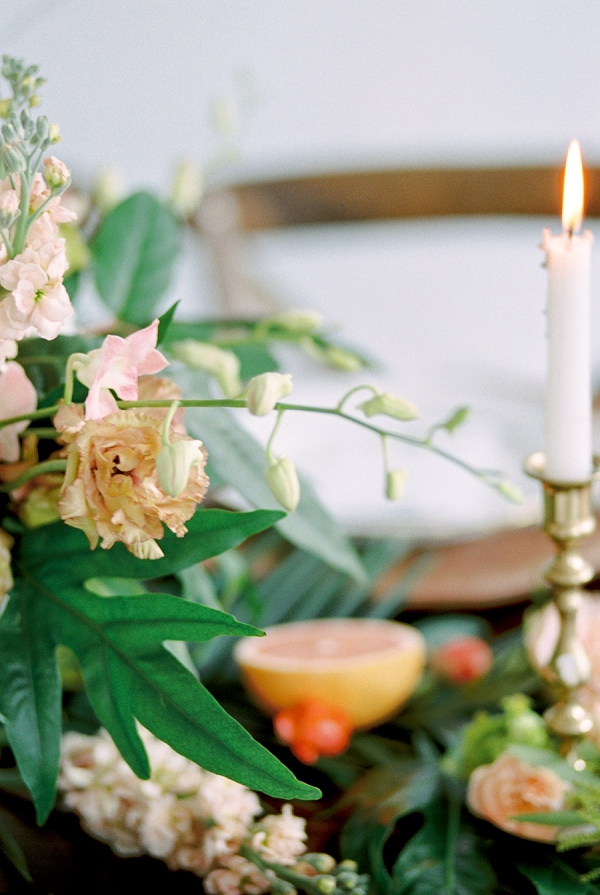 Floral Centerpiece | Indoor Tropical Wedding Inspiration by Kerry Jeanne Photography